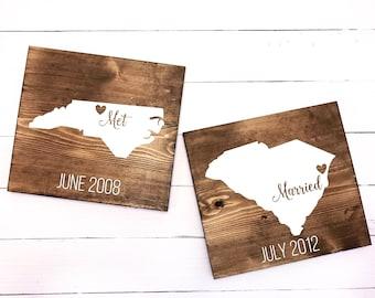 Met & Married Wood Signs // home signs, love signs, wedding signs, where we met, military life signs