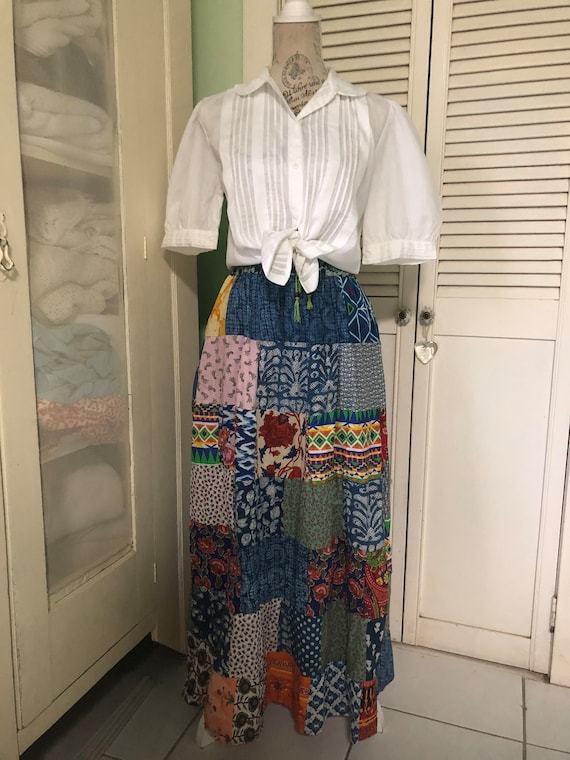 Patchwork cotton maxi skirt