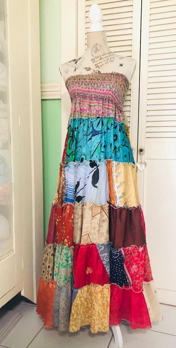 Silk patchwork maxi skirt/dress