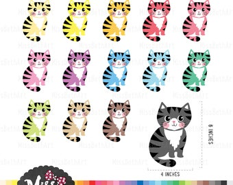 5c653695d785f 30 Colors Cute Cat/ cat face Clipart Instant Download | Etsy
