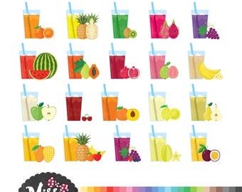 Fresh Fruit Juice/ Drink Clipart - Instant Download