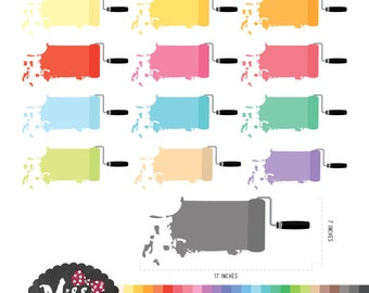 28 Color Paint Roller Clipart - Instant Download
