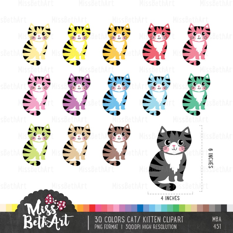 32846c7aba0e7 30 Colors Cute Cat/ kitten Clipart - Instant Download