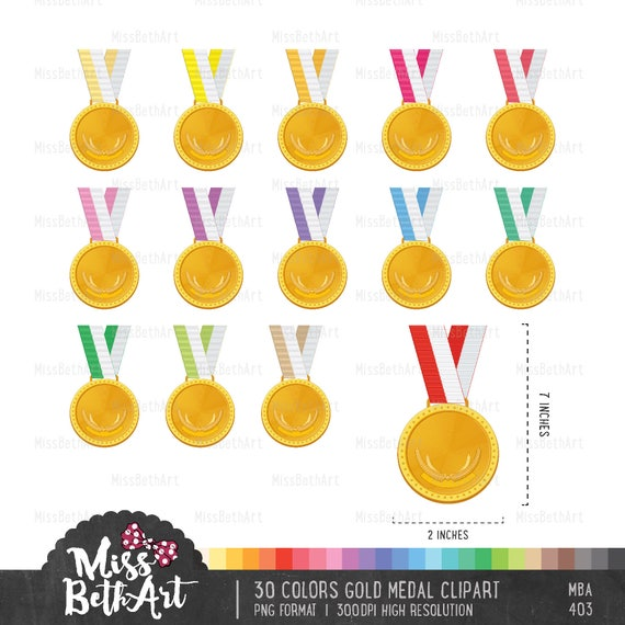 30 Colors Gold Medal Clipart - Instant Download