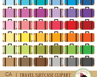Suitcases Clipart - Instant Download