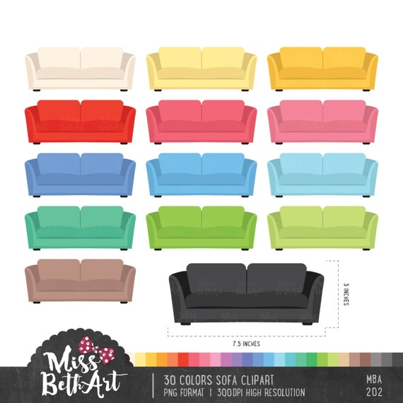 30 Colors Sofa Clipart Instant Download Etsy