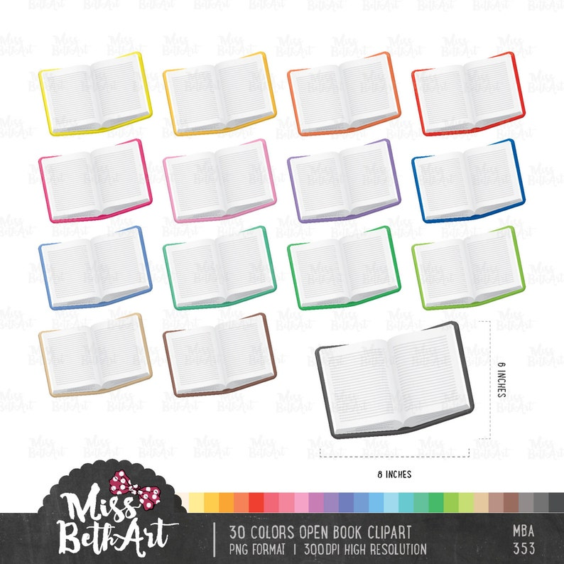 30 Colors Open Book / Reading Book Clipart - Instant Download