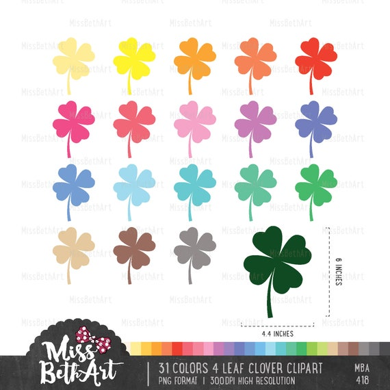 31 colores imágenes prediseñadas trébol de 4 hojas descarga | Etsy