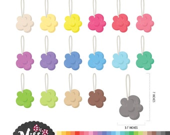 30 Colors Shower Puff Clipart - Instant Download