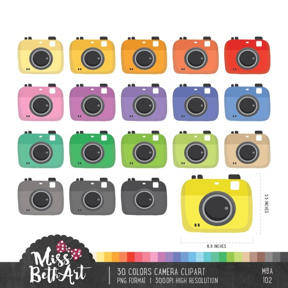 30 Colors Cameras Clipart Instant Download Etsy