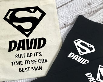 Suit Up it's Time to be our Best Man Superhero Personalised Socks and Bag Wedding Morning Gift