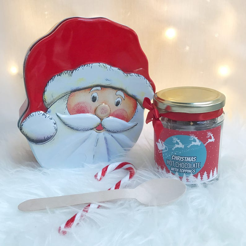 Deluxe Hot Chocolate And Santa Biscuit Tin Filled With Shortbread Gingerbread And Oat Biscuits