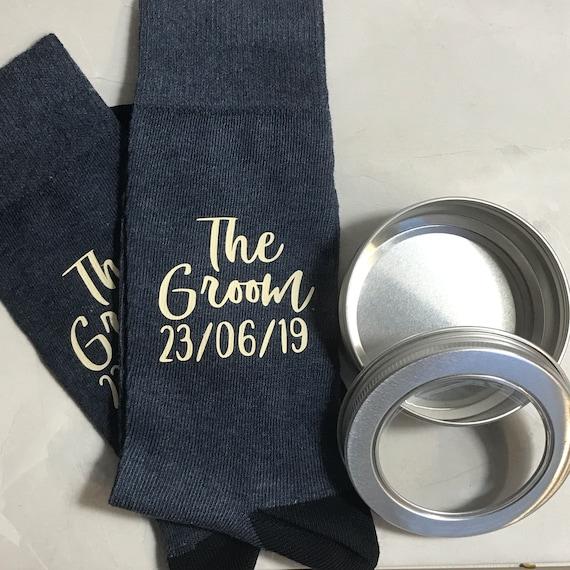 Monogram Groom Personalised Socks with tin and Personalised Gift Bag Wedding Morning gift