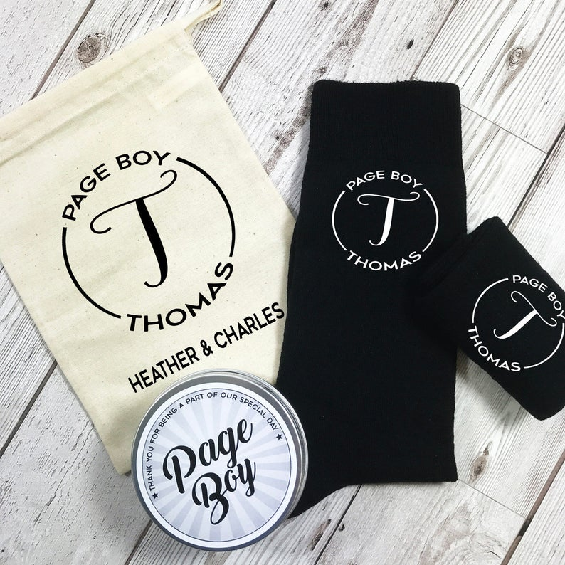 Monogram Page Boy Personalised Socks with tin and Personalised Gift Bag Wedding Morning gift