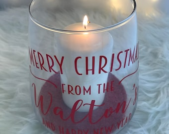 Personalised Christmas Candle Holder Vase Family Christmas Gift