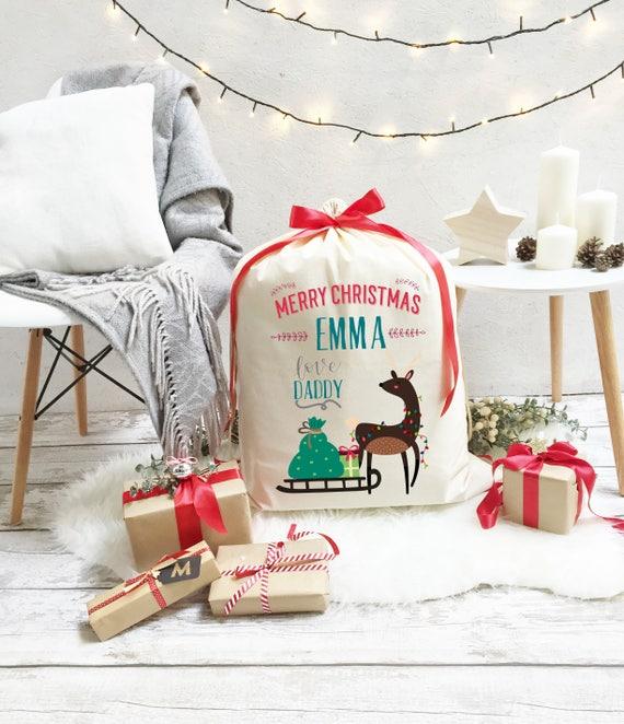 Personalised Blue Santa/'s Sleigh Design Christmas Stocking Presents Santa Sack