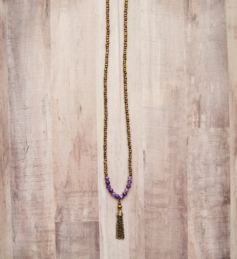 amethyst tassel healing beaded Viking necklace Long rustic boho layering necklace vintage gemstone gypsy jewelry unique yoga gift for her
