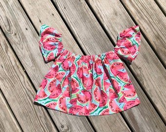 1523c66fd0a281 Watermelon girls off shoulder top   girls birthday watermelon crop top    toddler birthday watermelon outfit   toddler watermelon birthday
