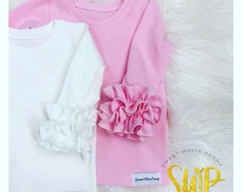 Ruffle  top, Easter layering tops, girls layering ruffle shirts, newborn ruffle tops, coming home outfits, layering shirts, long sleeves top
