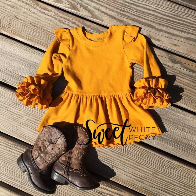 Mustard Ruffle Tunic Toddler Ruffle Tunic Newborn Boho Etsy