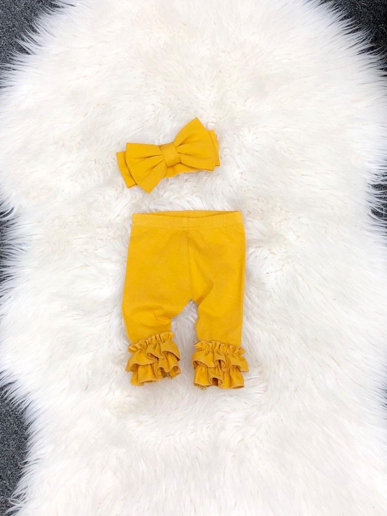 stretchy knit ruffle icings Purple FLARE newborn leggings and bow headband set newborn ruffle leggings Double ruffle newborn leggings
