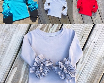 Long sleeve Ruffle top, Easter layering tops, girls layering ruffle shirts, newborn ruffle tops, coming home outfits, layering shirts