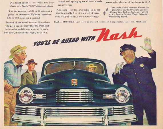 1946 Nash 600 Motors Automobile Original Vintage Advertisement with Policeman Stopping to Look