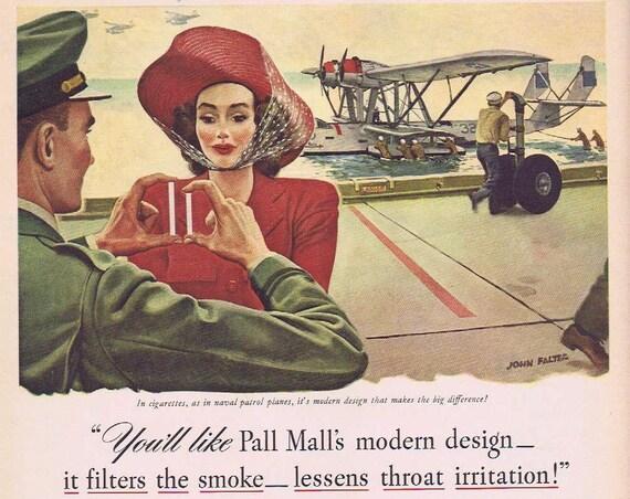 1941 Pall Mall Cigarettes Original Vintage Ad with Naval Patrol Plane & art by John Falter