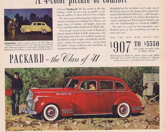 1941 Packard Automobile with Famous Air-Glide Ride Original Advertisement