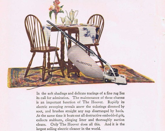 1920 Hoover Vacuum Cleaner Original Vintage Advertisement in Neat Color