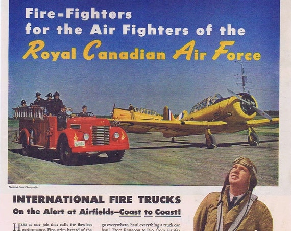 1942 International Fire Trucks WWII Era Original Advertisement with Air Fighters of the Royal Canadian Air Force