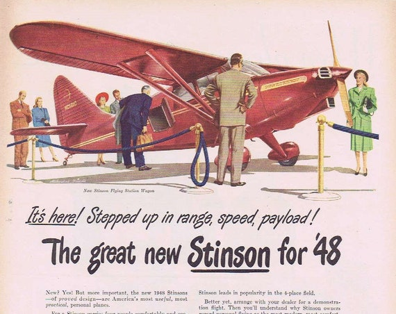 1948 New Stinson Flying Station Wagon Personal  Plane Original Vintage Advertisement with Neat Features and Art