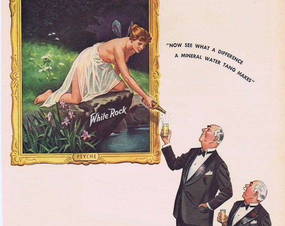1941 White Rock Mineral Water Original Vintage Advertisement with Psyche Fairy Nymph