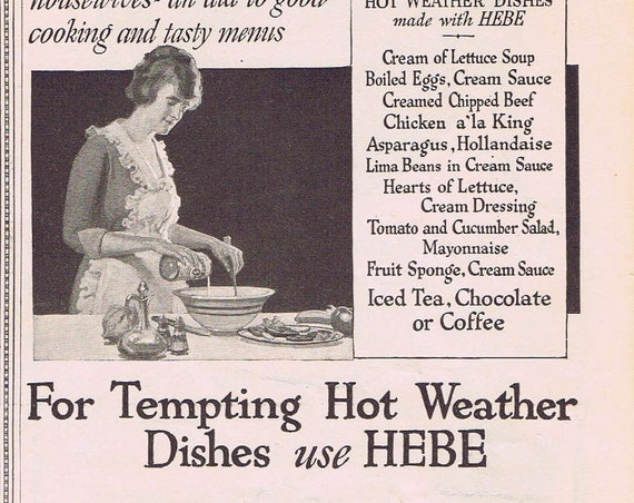 Old 1920 Ambrosial Dessert Recipes and Hebe Cooking Sauces Advertisement