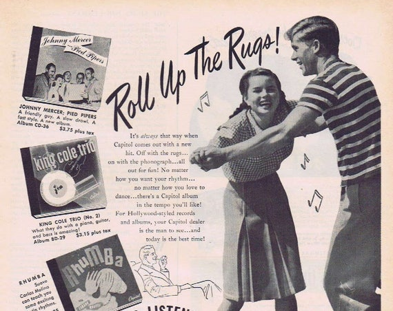 1946 Capitol Records with Dancing Couple and Saddle Shoes with Bobby Socks Original Vintage Advertisement