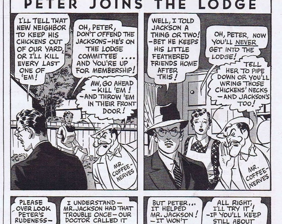 Peter Joins the Lodge 1940 Postum Coffee Substitute Original Vintage Advertisement with Mr. Coffee Nerves