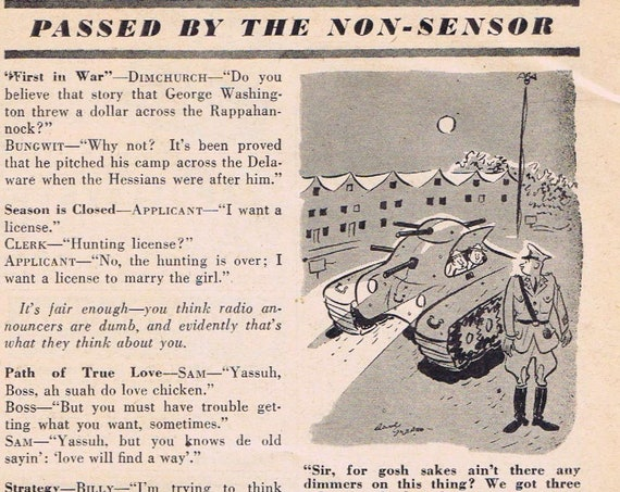 1942 WW2 Era Farmer and Farmer's Wife Jokes and Cartoons Feature Page