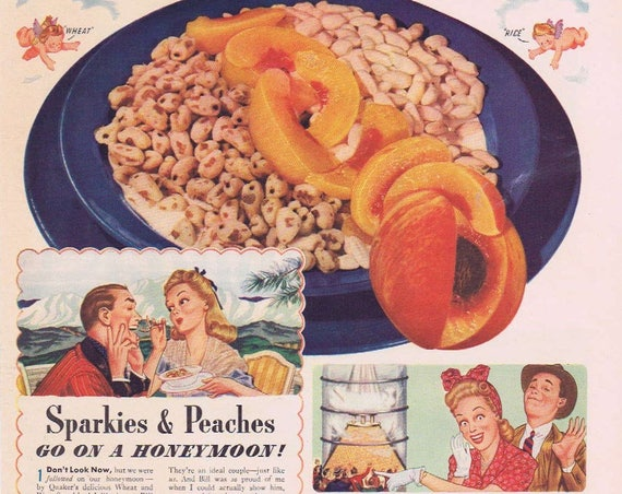 1941 Quaker Wheat Sparkies Cereal Original Vintage Ad with Sparkies & Peaches Art
