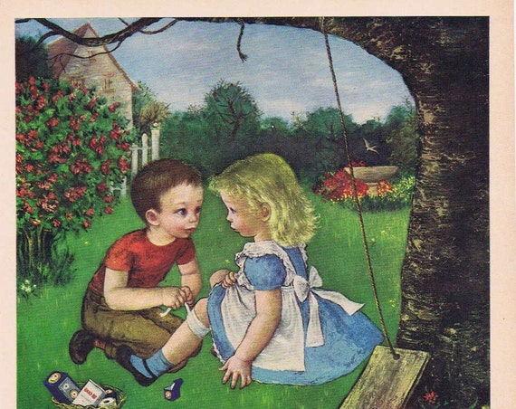1949 Little Boy Helping Little Girl Johnson & Johnson Band-Aids Original Vintage Advertisement with GRD Unique and Adorable Art