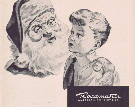 1942 Roadmaster Bicycle WWII Era Unique Christmas Advertisement with Crying Boy and Santa Claus