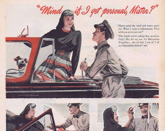 1946 Macmillan Oil with Gas Station Attendant Helping Pretty Girl Original Vintage Advertisement