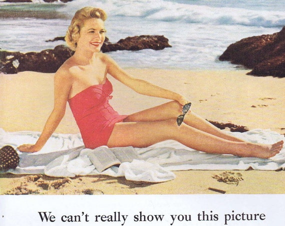 1956 Eastman Kodak Stereo 3-Dimension Original Vintage Advertisement with Pretty Beach Woman