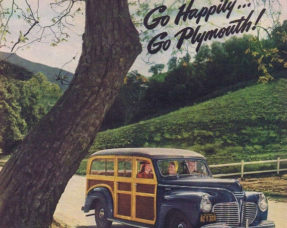 1941 Plymouth Automobile Original Vintage Advertisement with Woody Station Wagon, Convertible Coupe and Special Deluxe