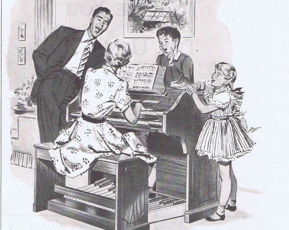1950 Family and Baldwin Organ or Allstate Insurance Original Vintage Advertisements