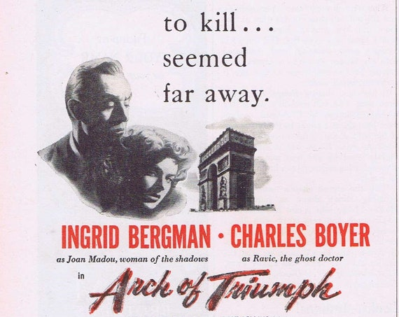 Arch of Triumph 1948 Original Vintage Movie Ad with Ingrid Bergman and Charles Boyer