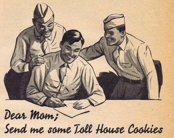 1942 WW2 Soldiers Writing Home for Toll House Cookies with Nestlés Chocolate Original Vintage Advertisement