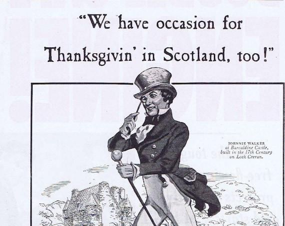 1938 Johnnie Walker Whiskey Thanksgiving in Scotland Original Vintage Advertisement
