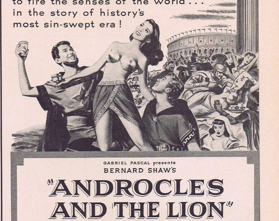 Androcles and the Lion 1952 Original Vintage Movie Ad or Culligan Water Softener Advertisement