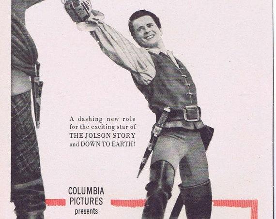 The Swordsman 1948 Swashbuckler Vintage Movie Ad with Larry Parks and Ellen Drew
