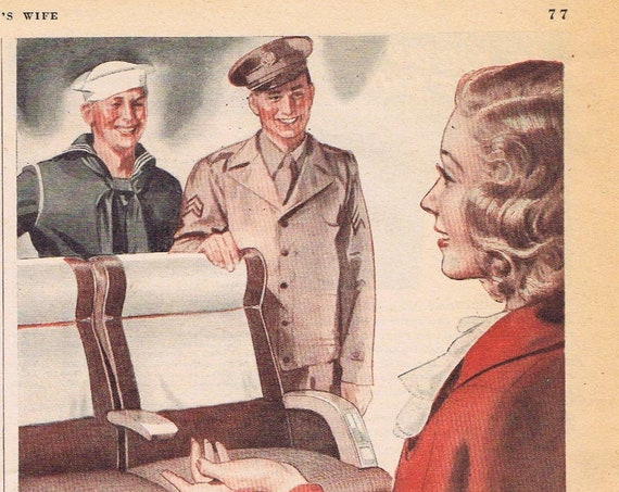 1942 WW2 Give a Soldier your Holiday Trip by Greyhound Buses Original Vintage Advertisement